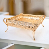 Metal Tray Luxury Gold Finish Hollow Plate Nuts / Fruit / Cake Stand Wedding Centerpieces Home Table Decoration