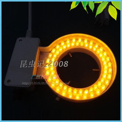 70mm Inner Diameter Yellow Ring Light 64 pcs LED Yellow Ring Lamp with Adapter 220V or 110V for Stereo Microscope Illumination fyscope red color light 60pcs led adjustable zoom microscope ring lamp with adapter 220v for biological stereo microscopes