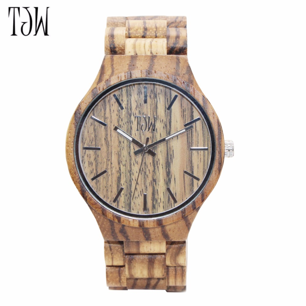 TJW 2018 Mens Wood Watch Zabra Wooden Watches for Men Watch in Gift Box