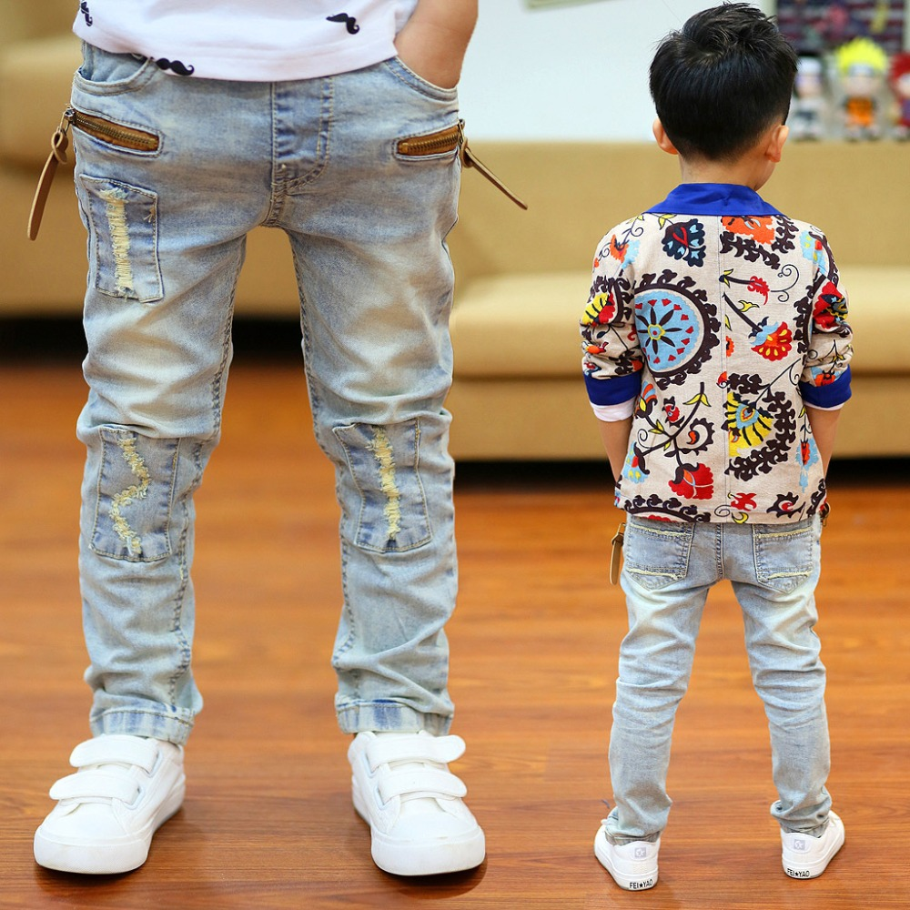 Jeans Boys Trousers Skinny Baby-Boy Kids Children Fashion-Hole Autumn Waist Hello Enjoy