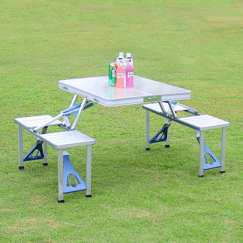 Outdoor Folding Table Aluminum Alloy One Piece Portable Stall Camping Barbecue Table And Chair Set Outdoor Tables Aliexpress