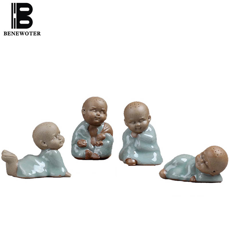 BENEWOTER Cerative Boutique Tea Set Tea Pet Yixing Ceramic Porcelain Ice Crackle Kiln Cute Monk Buddha Tea Pet Ornament Decor