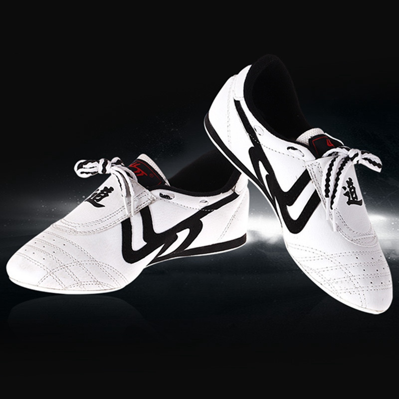 White Taekwondo Shoes Bee Tendon Sole Breathable Wear-resistant Training Kickboxing Tae Kwon Do Martial Arts Sneaker Shoes