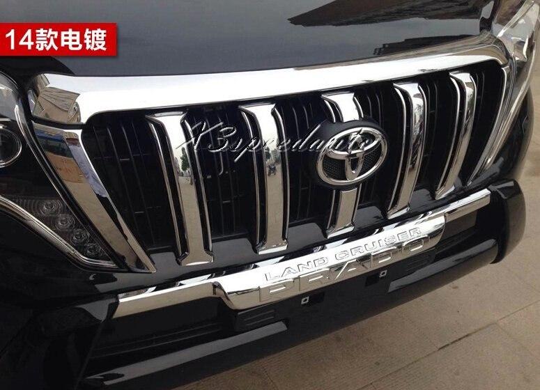 Livraison gratuite voiture style chromé Grille revêtement d'habillage 6 pièces pour Toyota Land Cruiser Prado 2014