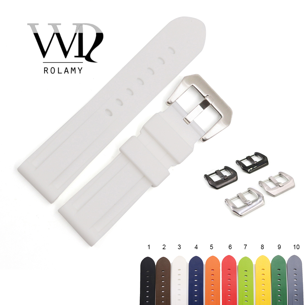 Rolamy 22 24mm Wholesale White Black Brown Waterproof Silicone Rubber Replacement Watch Band Loops Strap For Panerai Luminor