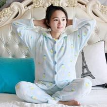 Autumn Flannel Women Pajamas Sets Female Turn-down Collar Full Sleepwear For womens Winter Home Suits Pyjama SY1007