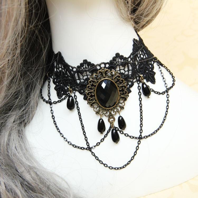 HTB1f61hHVXXXXcOXXXXq6xXFXXXv Vintage Gothic Tiered Chain Choker Jewelry With Crystal Pendant