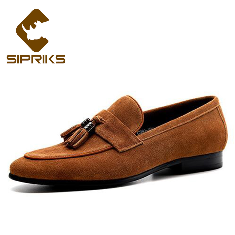 цены Sipriks Brown Cow Suede Tassels Loafers Mens Topsider Flats Dark Blue Formal Tuxedo Shoes Slip On Dress Party Wedding Shoes New