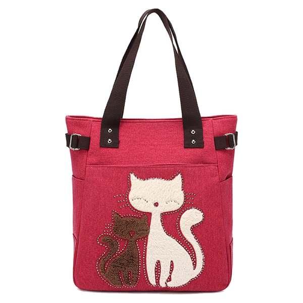 Women's Messenger Handbag Canvas Bag With Cat Small Shopping Shoulder Bag Red