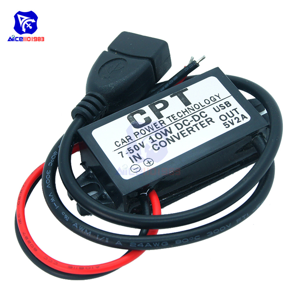 DC/DC DC 7 -50V to <font><b>5V</b></font> 2A 10W Step-Down Buck Converter Module <font><b>USB</b></font> Type-A Female Waterproof Adapter for Car image