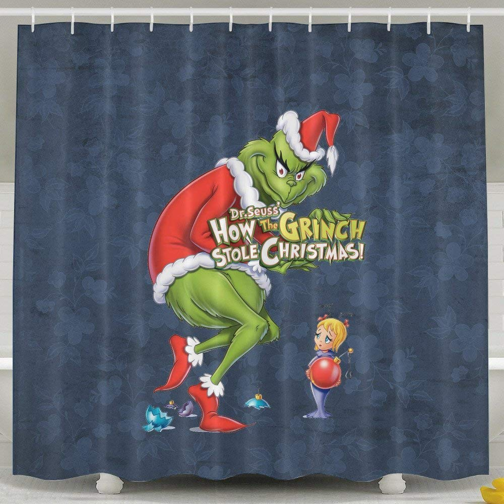 Merry Christmas The Grinch Polyester Waterproof 3D Shower