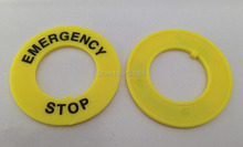 20pcs Free shipping  22mm Yellow Emergency Stop Ring Push Button Switch Accessory Warning  Ring Plate outer diameter 40mm
