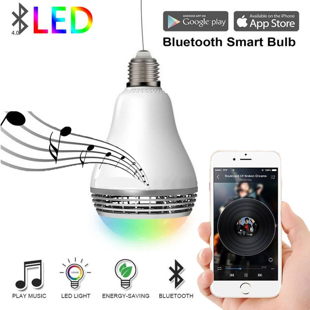 Ampoule intelligente 8 W E27 Wifi lumière de LED intelligente sans fil ampoule lampe RGB télécommande Wifi ampoule haut-parleur Module domotique Kit