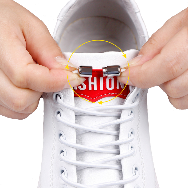 No Tie Shoelaces Elastic Shoe Laces Round Metal Locking Quick Off White Shoe Lace Child Adult Sneakers Unisex Lazy Laces 1 Pair