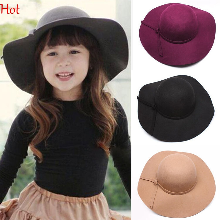 Fashion Kids Wide Brim Fedora Wool Hat Sun Beach Cap Chapeu Sombrero  Vintage Hats Girls Black Red Winter Floppy Gorras SV023831 c95bb09c58e