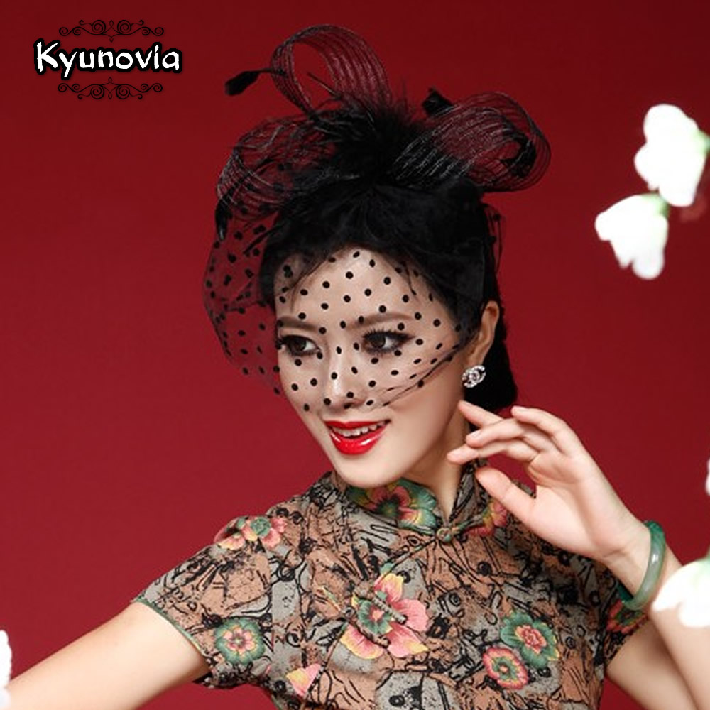 Kyunovia Beautiful Black/White/Red/Pink/Purple Birdcage Bridal Flower Feathers Fascinator Bride Wedding Hats Face Veils FW12
