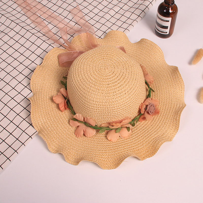 New Summer Children Sweet Princess Bow Straw Hat Baby Girls Beach Hats Kids Sun Hat Beanie Patchwork Lace Cap 5-10 years XL157