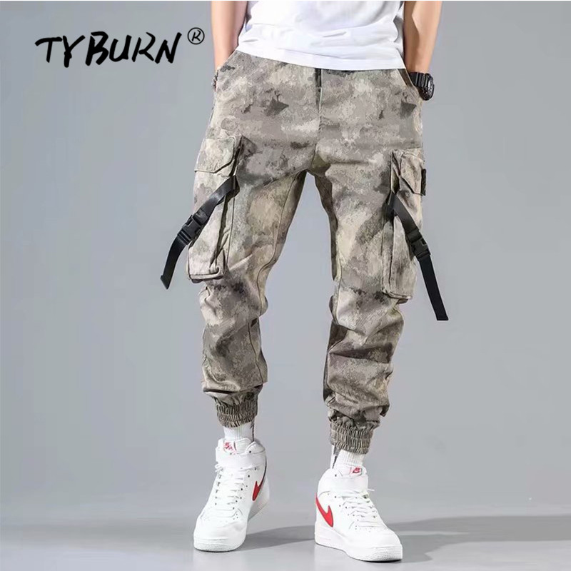 TYBURN Pants Men Haren-Trousers Casual Joggers Military Army Long Camo Cotton Elastic