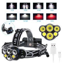 6-LED Super Bright Headlamp Adjustable Waterproof Head Torch Outdoor Camping Flashlight