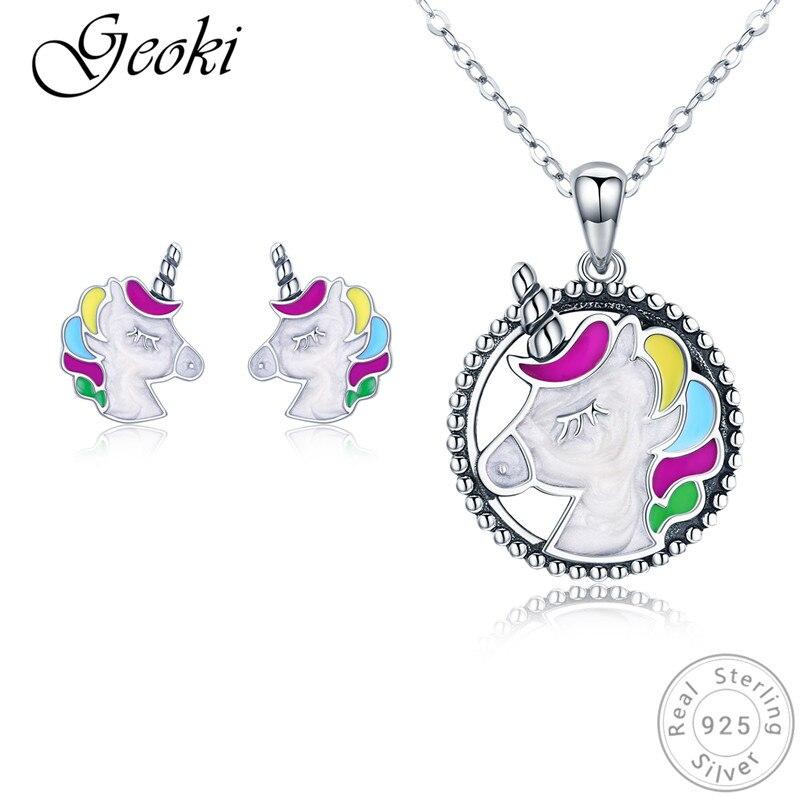 Geoki 925 argent Sterling couleur émail licorne boucles d'oreilles et pendentif collier petites filles mignon carrousel enfants ensembles de bijoux