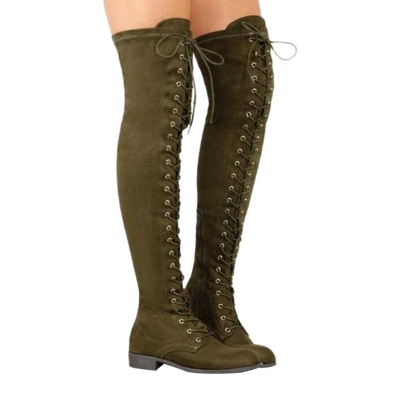 เซ็กซี่ Lace Up กว่าเข่ารองเท้าผู้หญิงสไตล์โรมสไตล์รองเท้าผู้หญิงรองเท้ารองเท้าผู้หญิงรองเท้าหนังนิ่มยาว Botas ฤดูหนาวต้นขารองเท้าบูทสูง 35-43