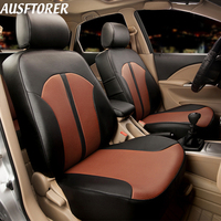 AUSFTORER PVC Leather Automobiles Seat Covers for Chevrolet Spark Seat Cover Accessories Car Interior Protector Cushion Supports