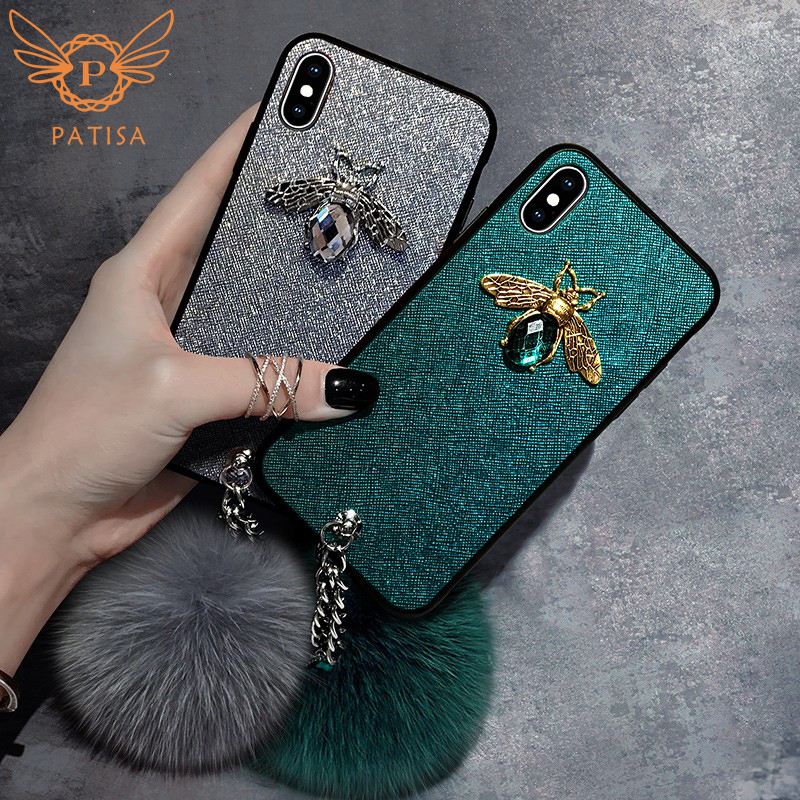 3D Cute Emerald-green Diamond Bee Fox Hair Plush Hairy Leather Case For Iphone X Case Lovely Cover For Iphone6 6s 7 8 Plus Coque