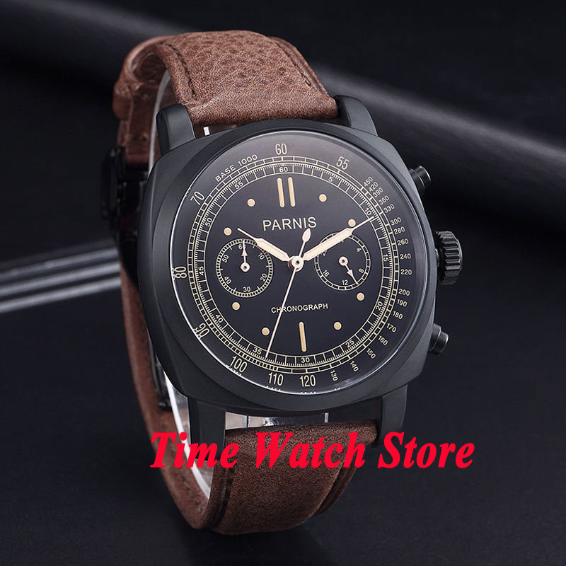 Solid Parnis men's watch 44mm PVD CASE black dial Full chronograph luminous quartz movement wrist watch men 544 цена и фото
