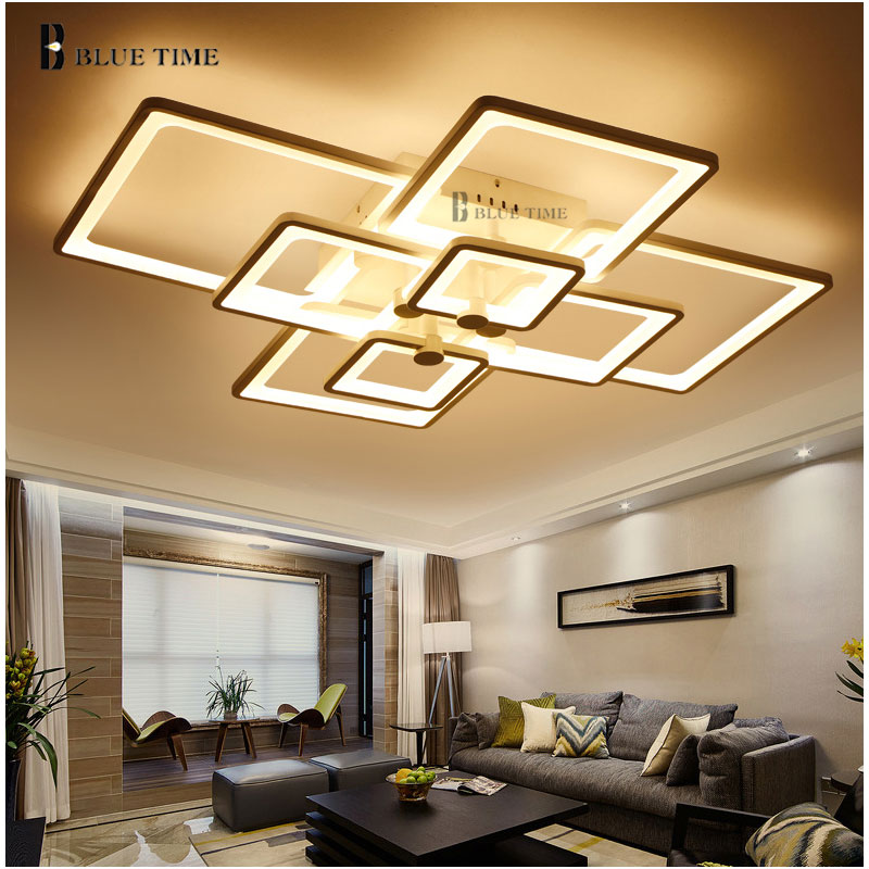 Dimming and remote modern ceiling lights led for living for Living room ceiling light fixture