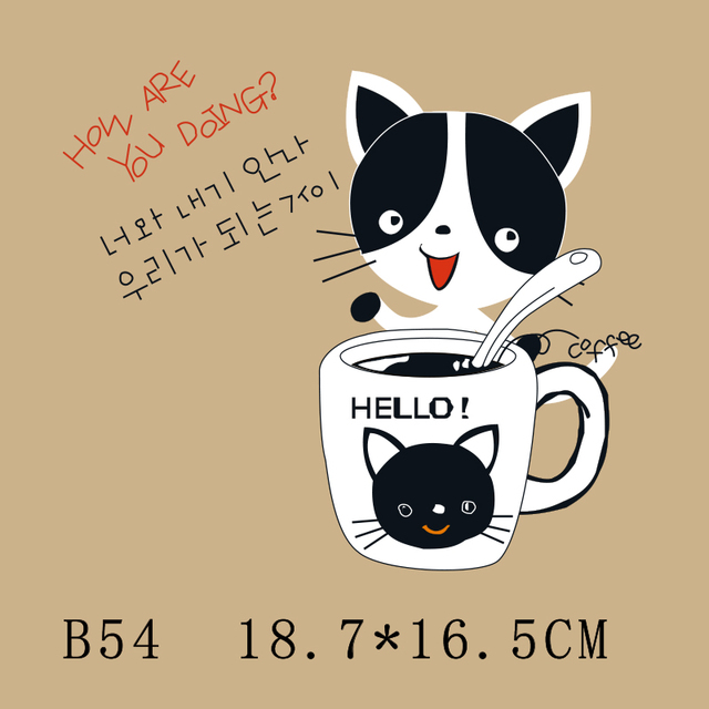 Cute cup cat heat transfer press patch for clothing iron on patches ironing stickers washable printed