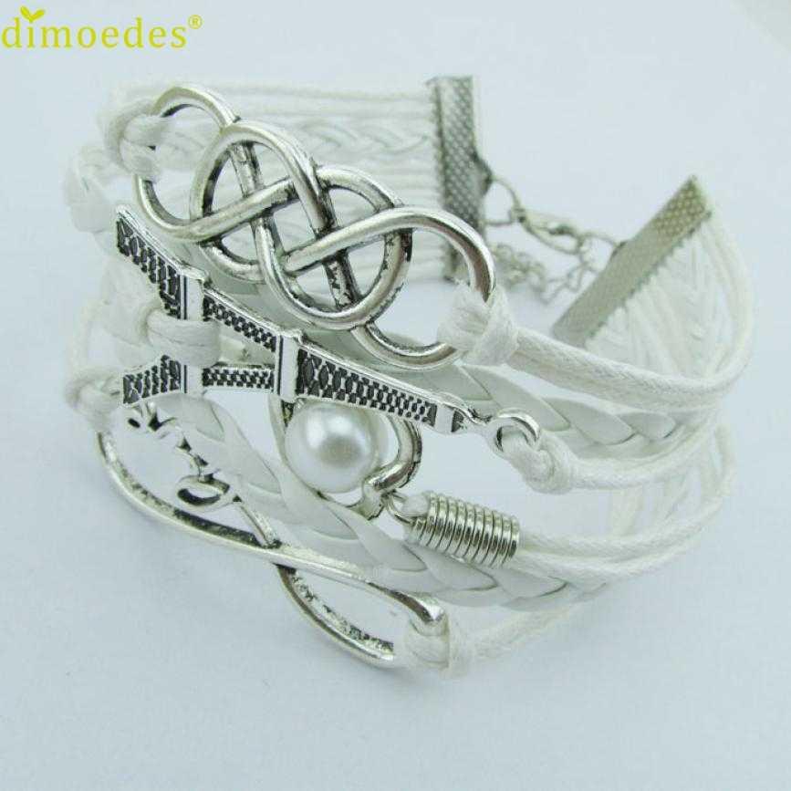Gussy Leven Behoort Tot U Groothandel Nieuwe Infinity Liefde Hart Eiffeltoren Vriendschap Leather Charm Armband Jan17
