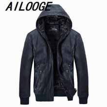 2016 New PU Leather Jacket Men Hooded Brand Long Warm Winter Leather Jackets Coats High Quality Business Slim Fit Parka Male