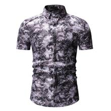 Summer Men Shirt Floral Casual Short-sleeved Flower Hawaiian Male Blouse Blue Gray Fashion