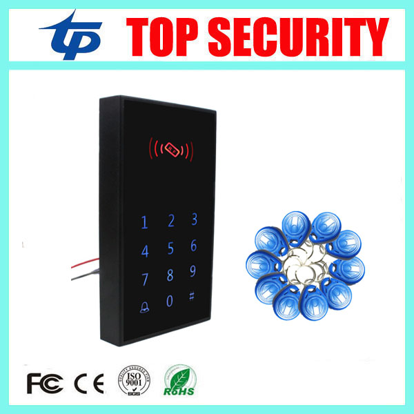 Free shipping good quality touch keypad RFID card access control card reader 800 users standalone single door access controller good quality smart rfid card door access control reader touch waterproof keypad 125khz id card single door access controller