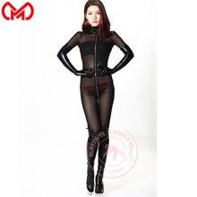 MEISE Cosplay Volledige Bodysuit Mesh See Through Lange Rits Open Kruis Jumpsuit Sheer Body Vormgeven Rompertjes Panty Plus Size F73