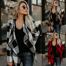 2019 Women's long sleeve printed plaid asymmetric jacket ladies outwear open stitch fashion oversized streetwear cardigan tops collarless open front asymmetric cardigan