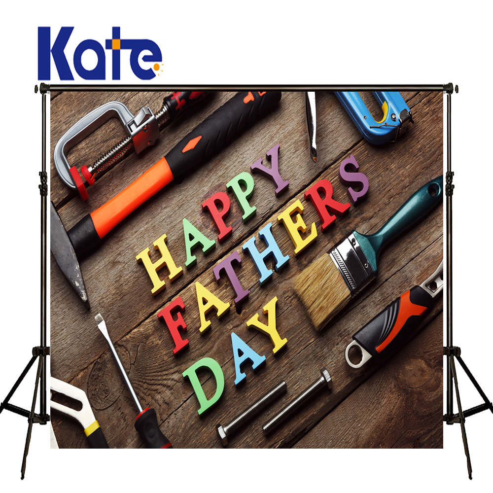 Kate Happy Fathers Day Wood Letters for Wall Background Children Photo Background Vintage Photo Studio Background Backdrop