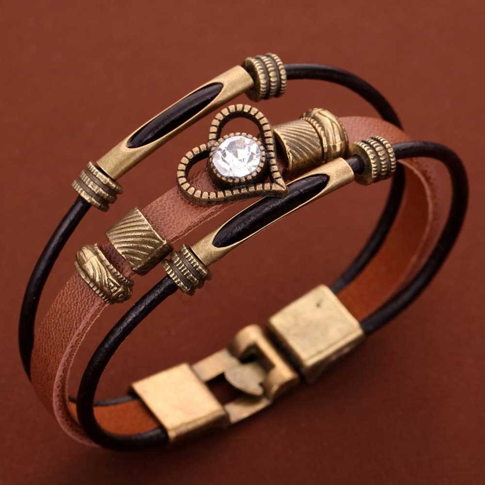 1407a5a10bba Retro multi-capa marrón pu cuero bronce Corazón de cristal pulsera  brazalete de las mujeres