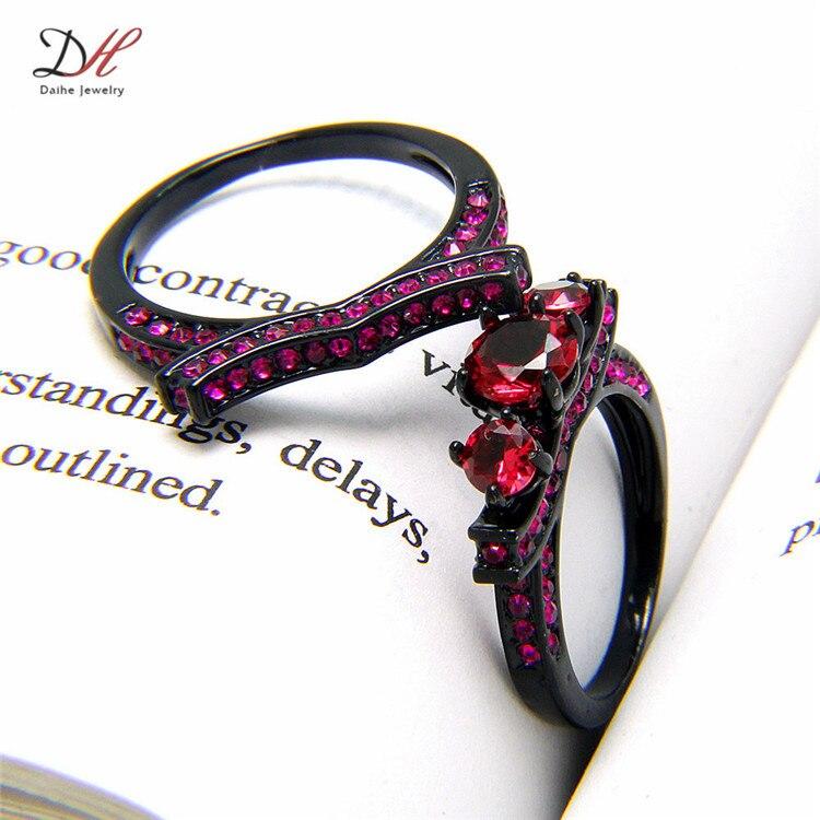 Pinkpurplerose red AAA Cubic Zirconia Womens Black Wedding Ring