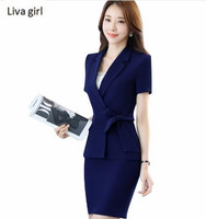 New Women Business Skirt Suits Female OL Summer Short Sleeve Slim Blazer With Skirt Office Ladies