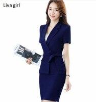 New Women Business Skirt Suits Female OL Summer Short Sleeve Slim Blazer With Skirt Office Ladies