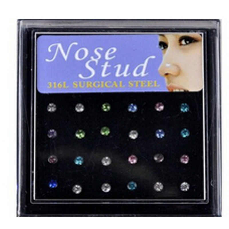 24pc Wholesale Mix Lot Body Jewelry Piercing 316L Surgical Steel Nose Stud Rings