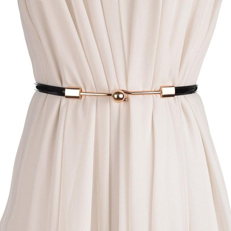 Fashion Adjustable Patent Cummerbunds Women Waist Leather Belt Golden Buckle Girdle For Dress Female Lady Waistband Straps White