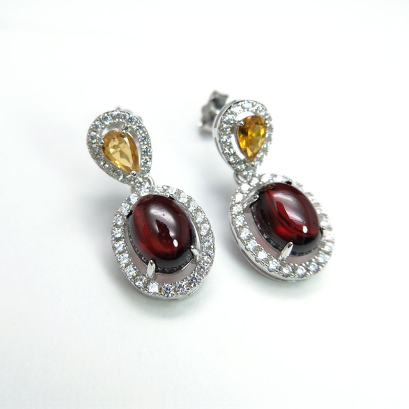 Rosalie,Two color natural gemstone yellow tourmaline and garnet gemstone earrings 925 sterling silver jewelry for women pair of sweet candy color gemstone embellished earrings for women