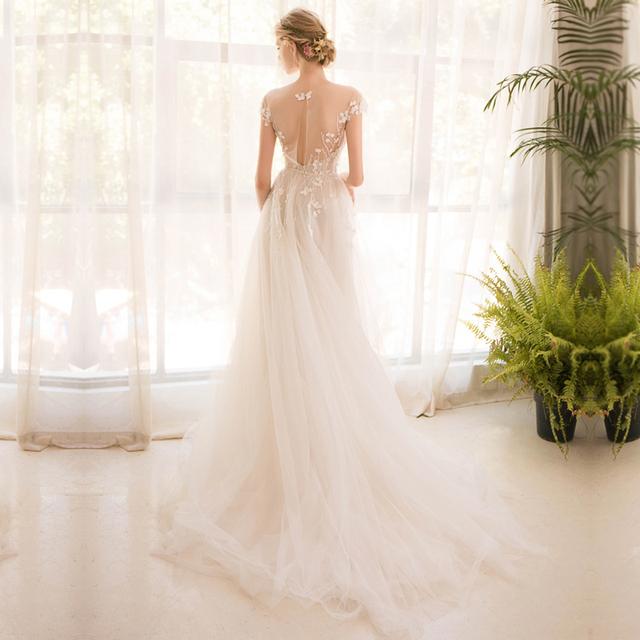 long half sleeve lace wedding dress high-end bride simple bridal gown weddingdress boho mermaid