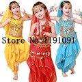Desempenho de dança roupas de dança índia dança do ventre Top e calça e cinto e cabeça e pulseira, 4 cores. Vl-143