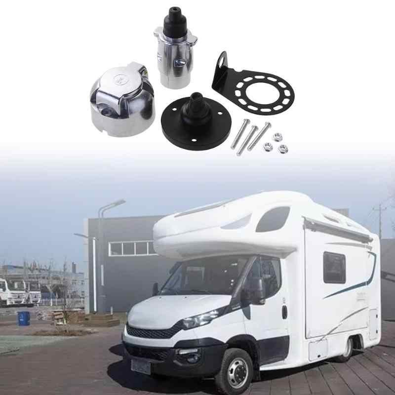 VODOOL 12V 7 vie RV rimorchio per camion per barche adattatore per connettore in metallo con Kit di prese per accessori per rimorchi per camper Standard europeo