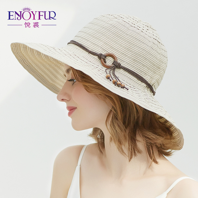 8f9b940c ENJOYFUR Women Cotton Summer Hats Foldable And Breathable Beach Caps Sun  Protection Wide Brim Hat For Female
