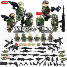 Military Special Forces Soldiers Bricks Figures Guns Weapons Compatible LegoINGlys NinjagoINGlys Sets with Weapons Action Toys(China)