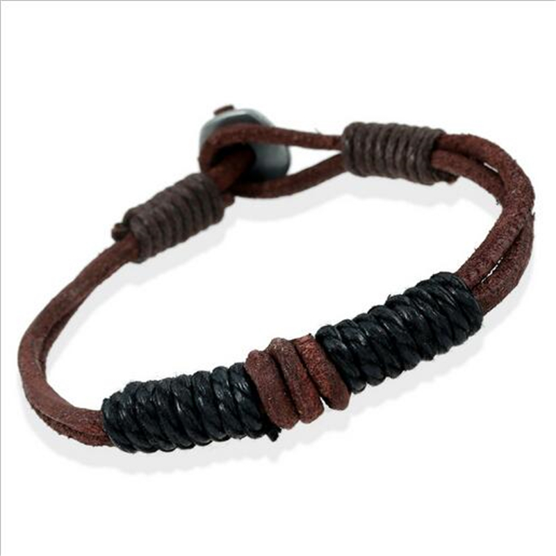 Hot Fashion Genuine Leather Bracelets & Bangles Colorful Cotton Charms Bracelet For Men Cuff Braided Rope Jewelry Christmas Gift